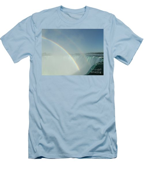 Men's T-Shirt (Slim Fit) featuring the photograph Double Rainbow by Brenda Brown