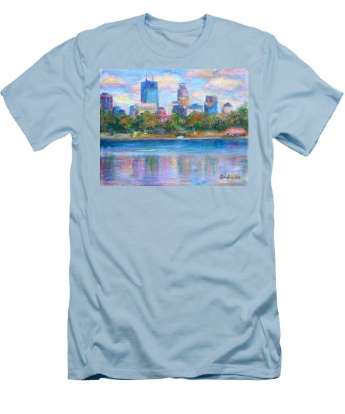 Downtown Minneapolis Skyline From Lake Calhoun Men's T-Shirt (Slim Fit) by Quin Sweetman