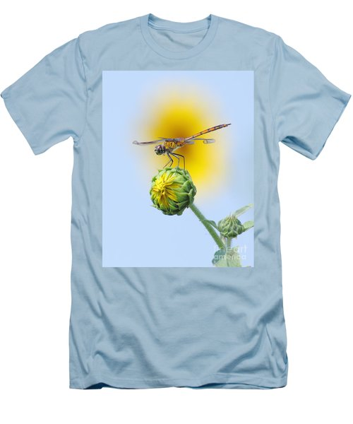 Dragonfly In Sunflowers Men's T-Shirt (Slim Fit) by Robert Frederick