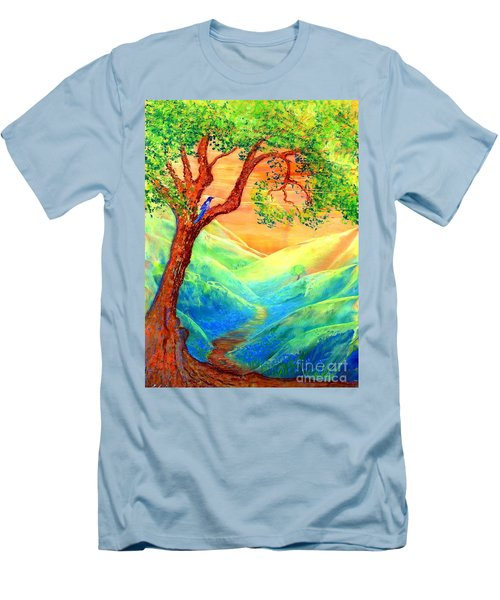 Men's T-Shirt (Slim Fit) featuring the painting Dreaming Of Bluebells by Jane Small