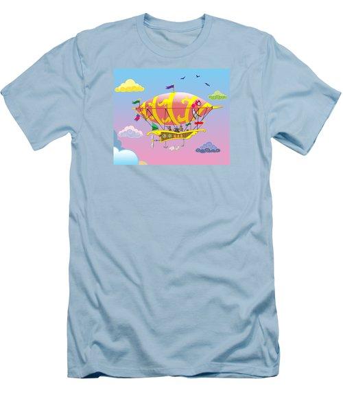Rainbow Steampunk Dreamship Men's T-Shirt (Slim Fit) by J L Meadows