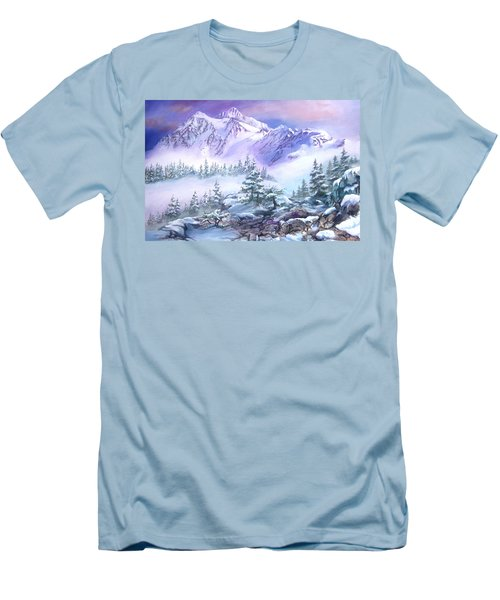 Men's T-Shirt (Slim Fit) featuring the painting Dressed In White Mount Shuksan by Sherry Shipley