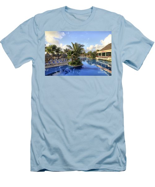 Early Morning At The Pool Men's T-Shirt (Slim Fit) by Teresa Zieba