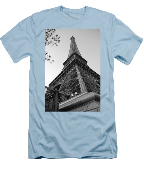 Men's T-Shirt (Slim Fit) featuring the photograph Eiffel Tower In Black And White by Jennifer Ancker