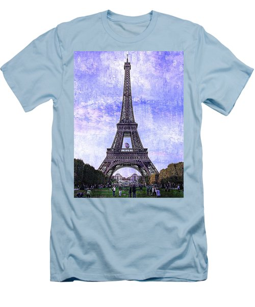 Men's T-Shirt (Slim Fit) featuring the photograph Eiffel Tower Paris by Kathy Churchman
