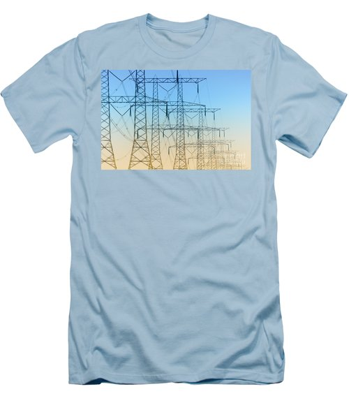 Electricity Pylons Standing In A Row Men's T-Shirt (Athletic Fit)