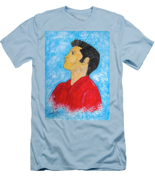 Men's T-Shirt (Slim Fit) featuring the painting Elvis Presley Singing by Kathy Marrs Chandler