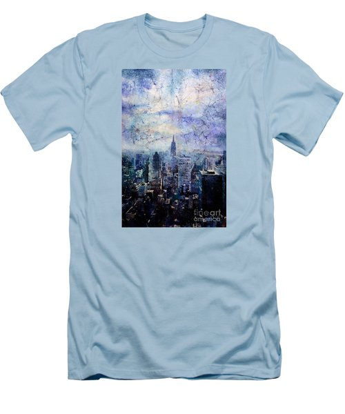 Empire State Building In Blue Men's T-Shirt (Slim Fit) by Ryan Fox