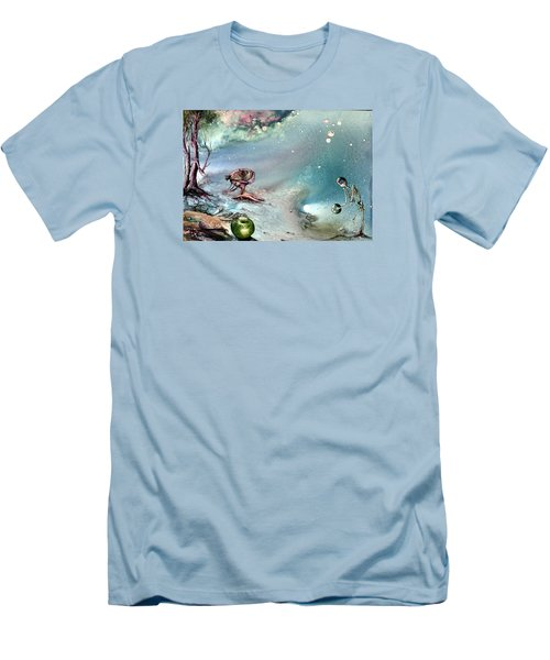 Men's T-Shirt (Slim Fit) featuring the painting Enigma by Mikhail Savchenko