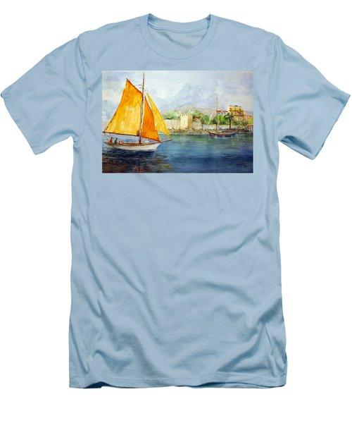 Entering The Port - Foca Izmir Men's T-Shirt (Slim Fit) by Faruk Koksal