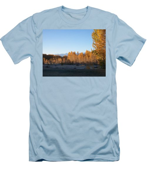 Men's T-Shirt (Slim Fit) featuring the photograph Fall On The River by Jewel Hengen