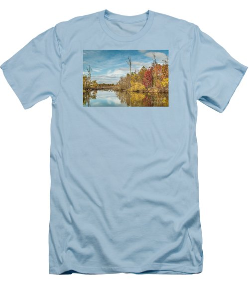 Men's T-Shirt (Slim Fit) featuring the photograph Fall Pond by Debbie Green