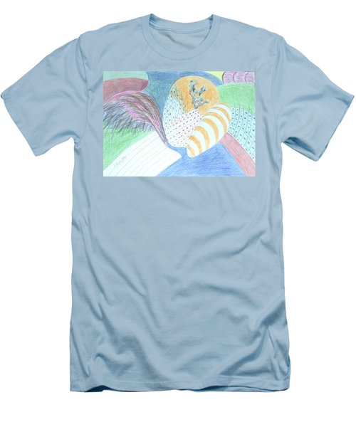 Men's T-Shirt (Slim Fit) featuring the drawing Fantasy Of Egg And Cactus by Esther Newman-Cohen
