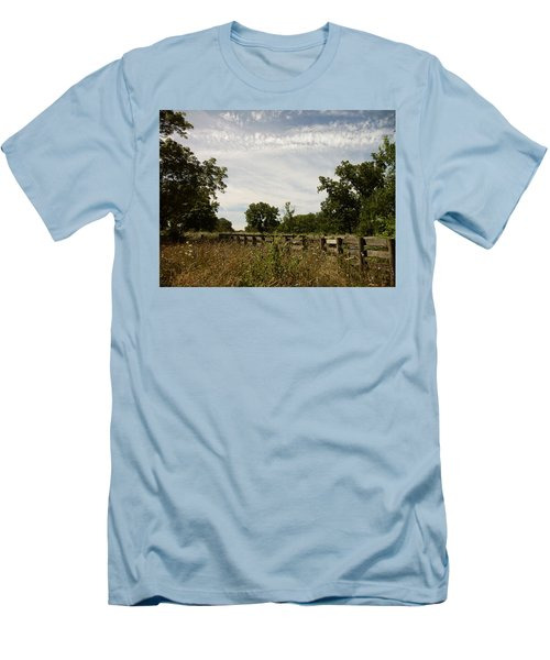 Men's T-Shirt (Slim Fit) featuring the photograph Fence 2 by Cynthia Lassiter