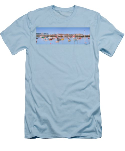 Fishing Boats In The Howth Marina Men's T-Shirt (Slim Fit) by Semmick Photo