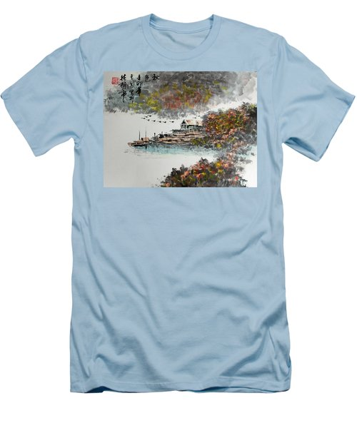 Fishing Village In Autumn Men's T-Shirt (Slim Fit) by Yufeng Wang