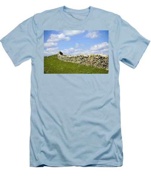 Men's T-Shirt (Slim Fit) featuring the photograph Flint Hills Rock Fence by Steven Bateson
