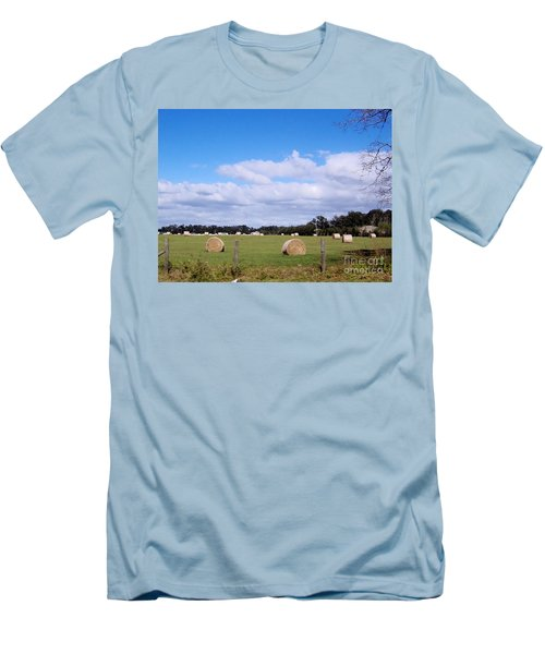 Men's T-Shirt (Slim Fit) featuring the photograph Florida Hay Rolls by D Hackett