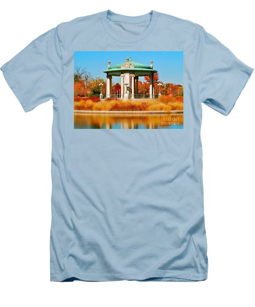 Men's T-Shirt (Slim Fit) featuring the photograph Forest Park Gazebo by Peggy Franz