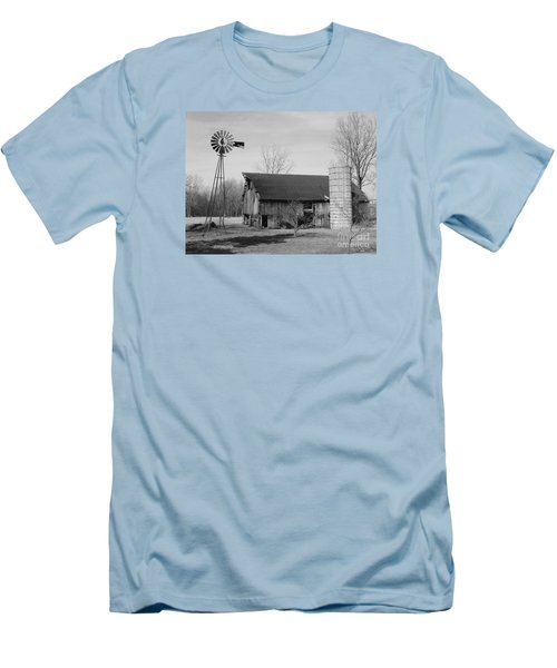 Forgotten Farm In Black And White Men's T-Shirt (Slim Fit) by Judy Whitton
