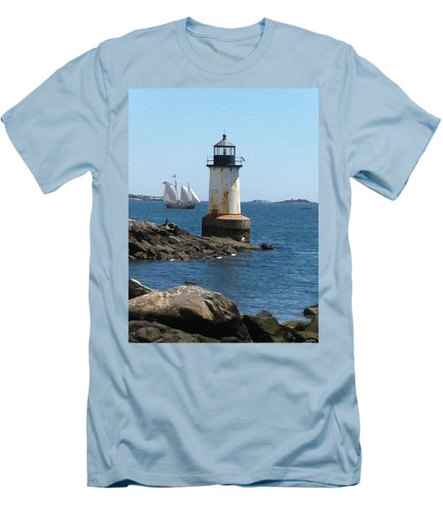 Men's T-Shirt (Slim Fit) featuring the photograph Fort Pickering Light by Denyse Duhaime