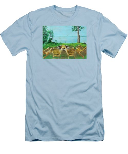 Men's T-Shirt (Slim Fit) featuring the painting Four Chairs by Jeanne Fischer