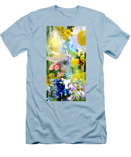 Men's T-Shirt (Slim Fit) featuring the digital art Framed In Flowers by Cathy Anderson