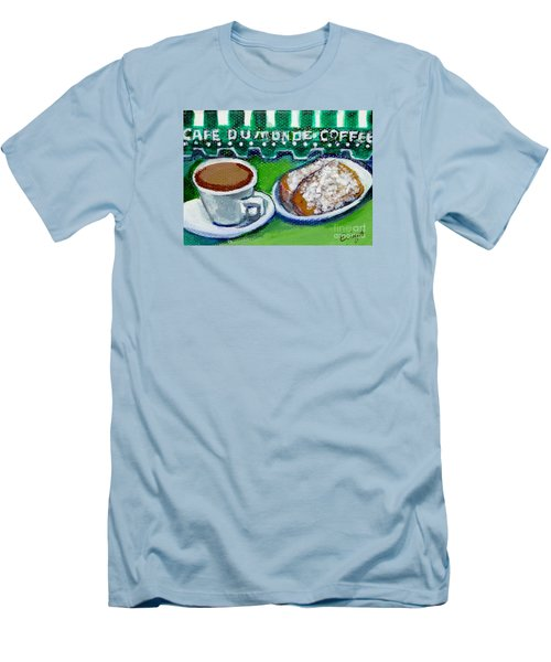 Men's T-Shirt (Slim Fit) featuring the painting French Quarter Delight by Ecinja