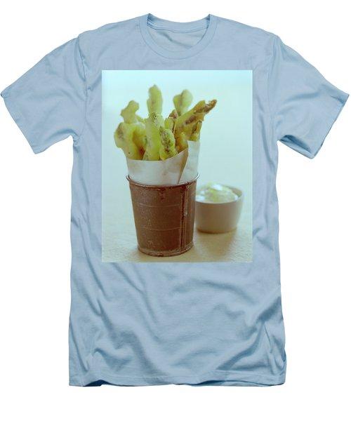 Fried Asparagus Men's T-Shirt (Slim Fit) by Romulo Yanes