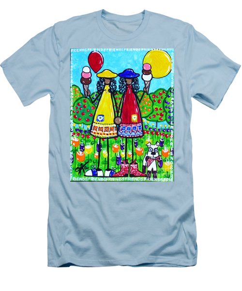 Men's T-Shirt (Slim Fit) featuring the painting Friends by Jackie Carpenter
