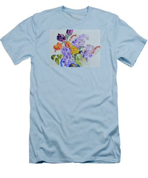 Men's T-Shirt (Slim Fit) featuring the painting From Grammy's Garden by Beverley Harper Tinsley
