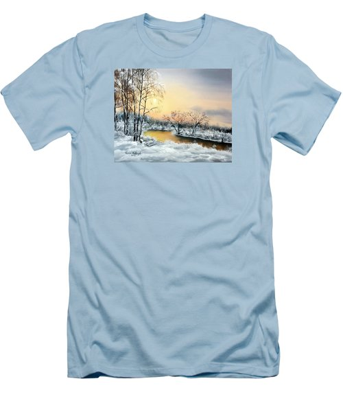 Men's T-Shirt (Slim Fit) featuring the painting Frozen by Vesna Martinjak