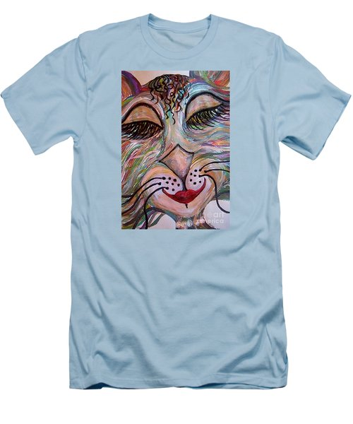 Men's T-Shirt (Slim Fit) featuring the painting Funky Feline  by Eloise Schneider