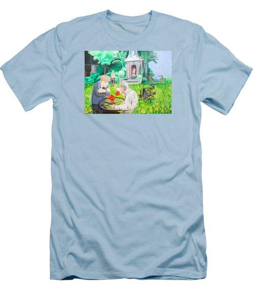 Men's T-Shirt (Slim Fit) featuring the painting Gambling Grandma  by Lazaro Hurtado