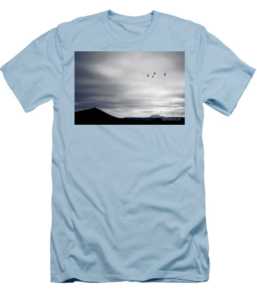 Men's T-Shirt (Slim Fit) featuring the photograph Geese Flying South For Winter by Peta Thames