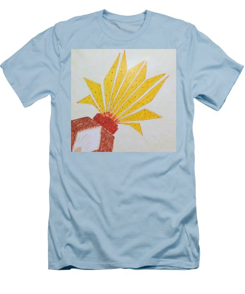Men's T-Shirt (Slim Fit) featuring the painting Geometric Blooming Lotus by Sonali Gangane