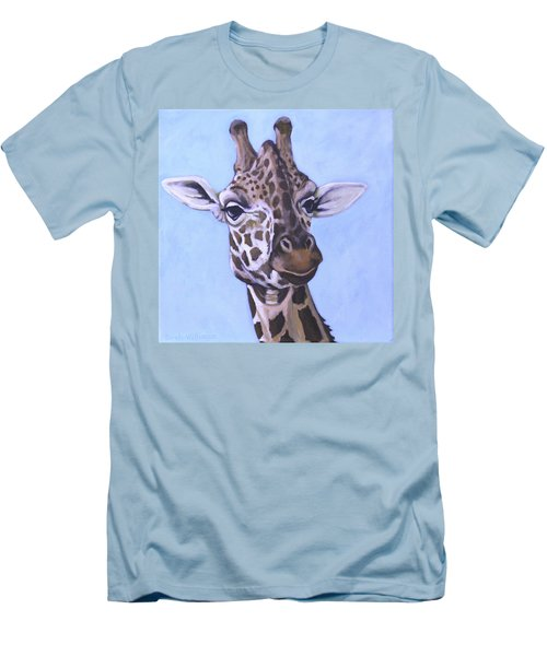 Men's T-Shirt (Slim Fit) featuring the painting Giraffe Eye To Eye by Penny Birch-Williams