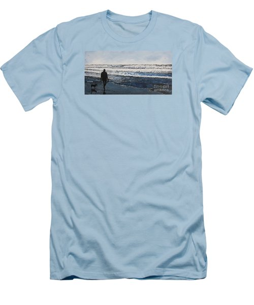 Girl And Dog Walking On The Beach Men's T-Shirt (Slim Fit) by Ian Donley