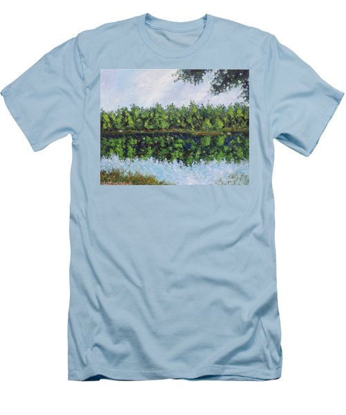 Men's T-Shirt (Slim Fit) featuring the painting Glenoak Lake by Jason Williamson