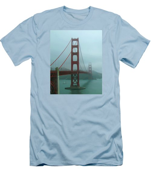 Golden Gate Bridge And Partial Arch In Color  Men's T-Shirt (Slim Fit) by Connie Fox