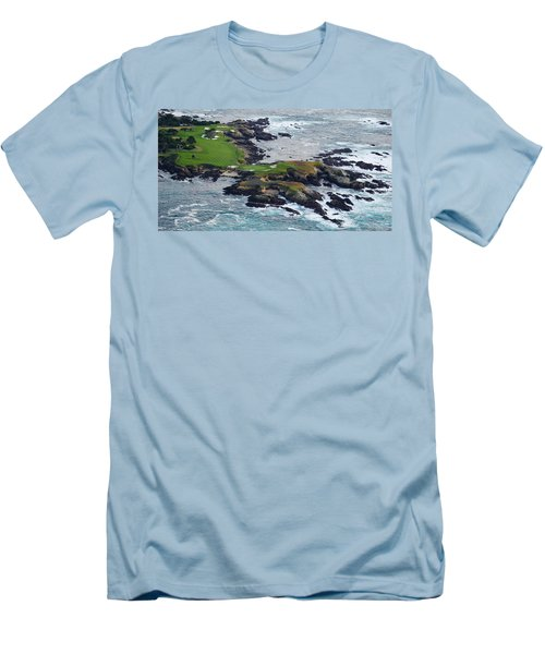 Golf Course On An Island, Pebble Beach Men's T-Shirt (Athletic Fit)