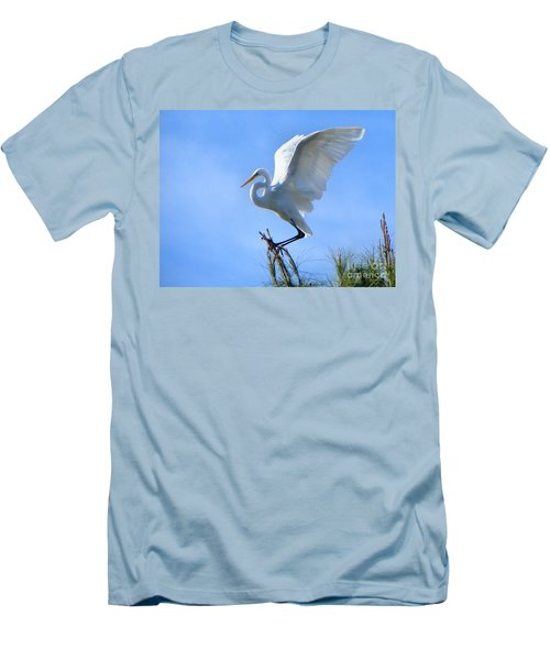 Men's T-Shirt (Slim Fit) featuring the photograph Graceful Landing by Deb Halloran