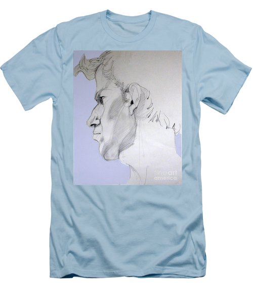 Men's T-Shirt (Slim Fit) featuring the drawing Graphite Portrait Sketch Of A Young Man In Profile by Greta Corens