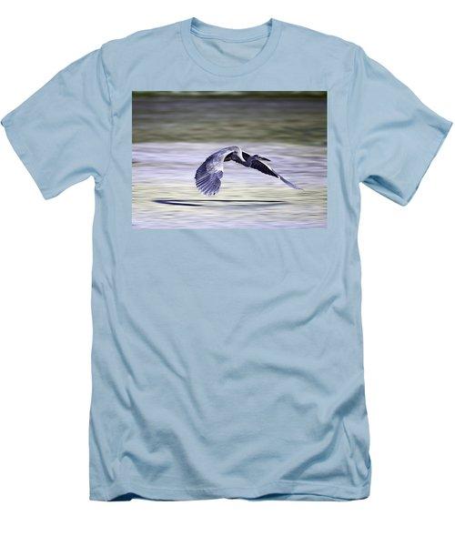 Great Blue Heron In Flight Men's T-Shirt (Slim Fit) by John Haldane
