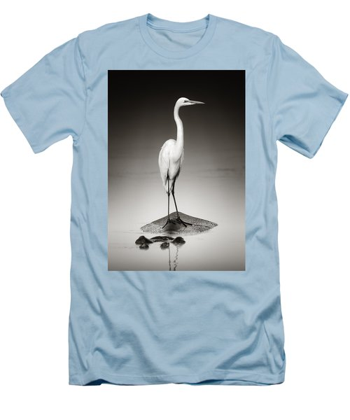 Great White Egret On Hippo Men's T-Shirt (Slim Fit) by Johan Swanepoel