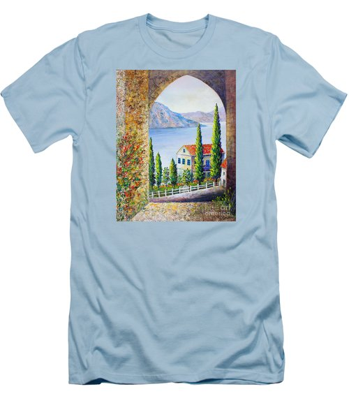 Greek Arch Vista Men's T-Shirt (Slim Fit) by Lou Ann Bagnall