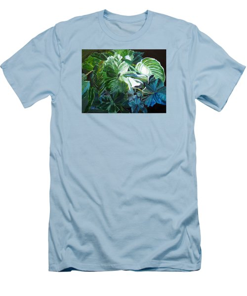 Green Leaves Study Men's T-Shirt (Slim Fit) by LaVonne Hand