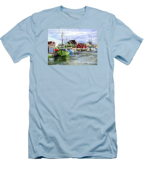 Men's T-Shirt (Slim Fit) featuring the painting Peggys Cove Nova Scotia Watercolor by Carol Wisniewski