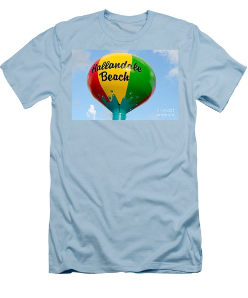 Hallendale Beach Water Tower Men's T-Shirt (Slim Fit) by Les Palenik
