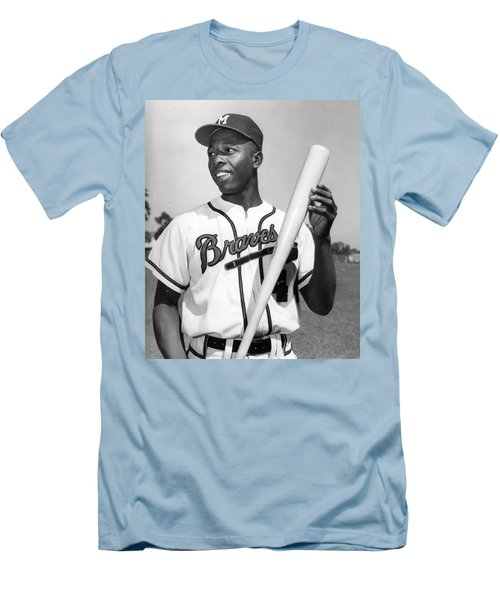 Hank Aaron Poster Men's T-Shirt (Athletic Fit)
